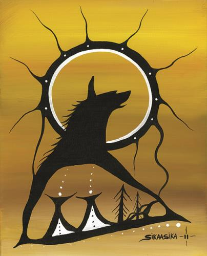 Wolf & 2 Teepees by Francis Esquega Lake Superior Store