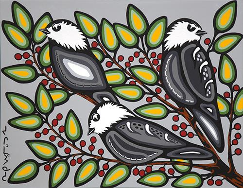 Chickadees Amongst the Leaves by Eugene Morriseau